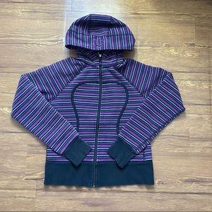 Lululemon Scuba Hoodie Black Purple Stripes Size 8